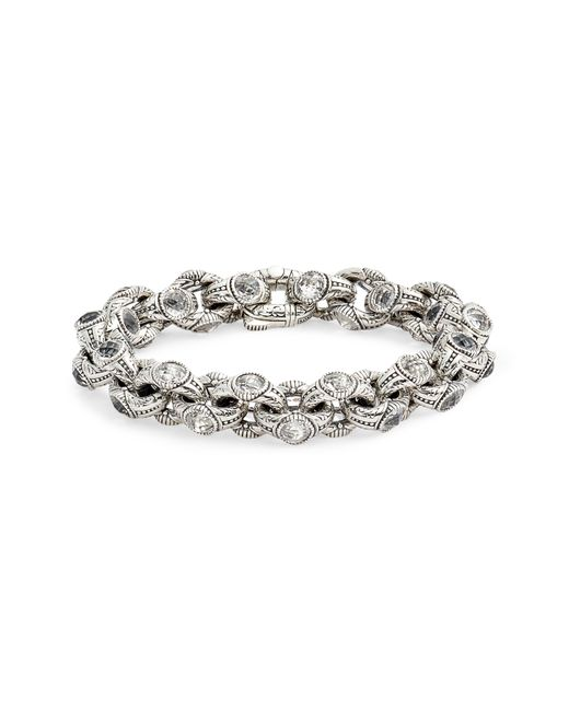 Konstantino Metallic Pythia Crystal Chain Link Bracelet