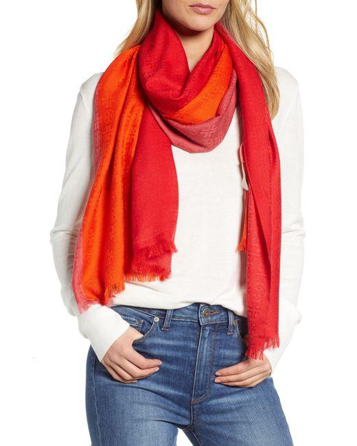 Tory Burch - Red Colorblock Traveler Wool & Silk Scarf - Lyst