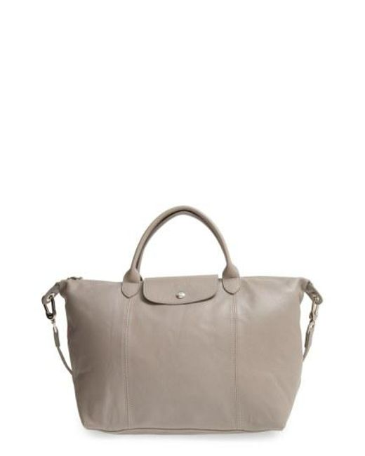 Longchamp - Red Medium 'le Pliage Cuir' Leather Top Handle Tote - Lyst