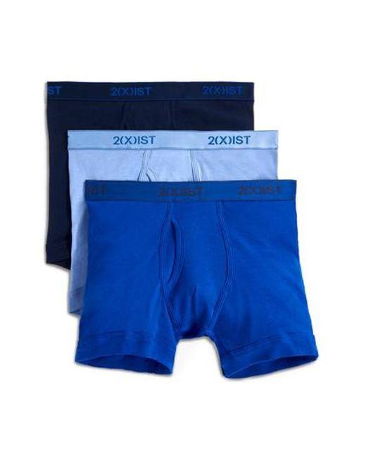2xist   3-pack Cotton Boxer Briefs, Blue for Men   Lyst