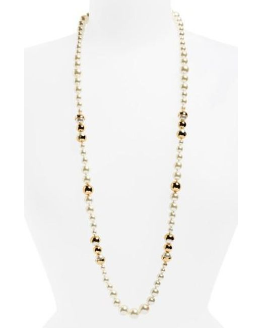 Tory Burch | Metallic Imitation Pearl Strand Necklace | Lyst