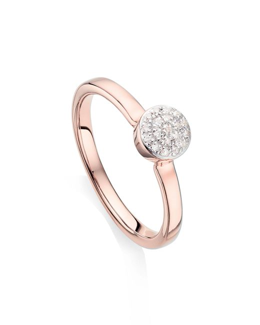 Monica Vinader - Metallic Fiji Mini Diamond Button Stack Ring - Lyst