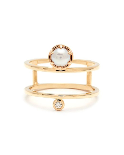 Anna Sheffield - Metallic 'reverse Attelage' Double Band Pearl & Diamond Ring - Lyst