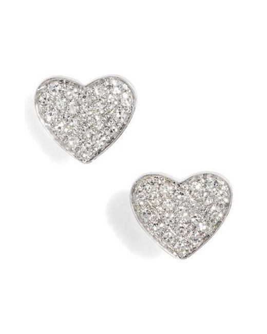 EF Collection | Metallic Diamond Heart Stud Earrings | Lyst