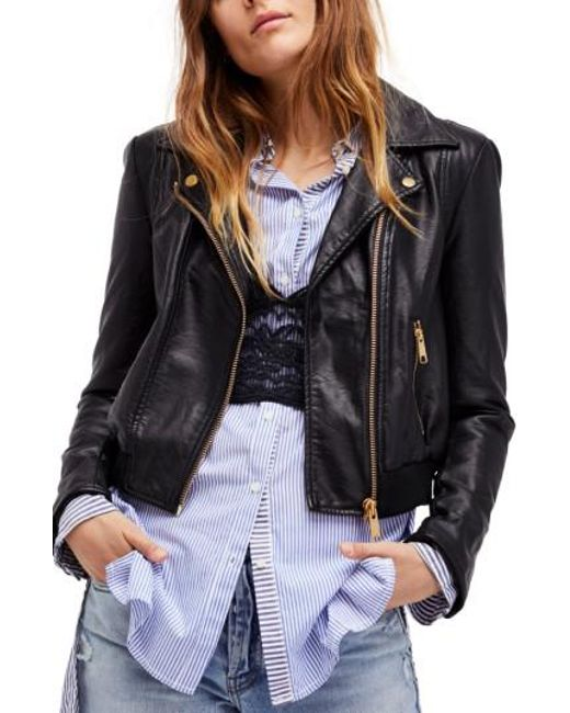 Free People   Black Modern Faux Leather Bomber Jacket   Lyst