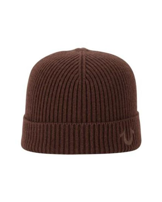 True Religion | Brown Rib Knit Cap for Men | Lyst