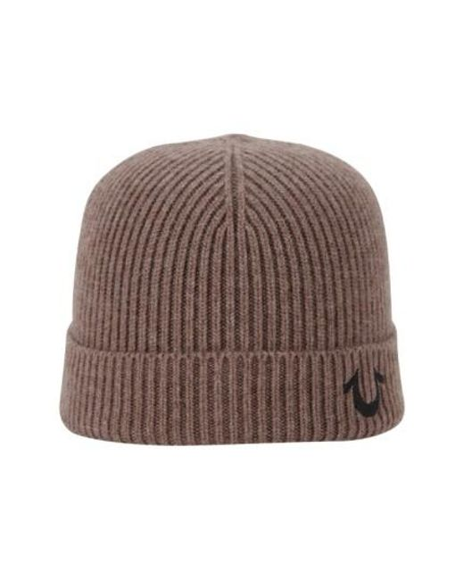 True Religion   Brown Rib Knit Cap for Men   Lyst