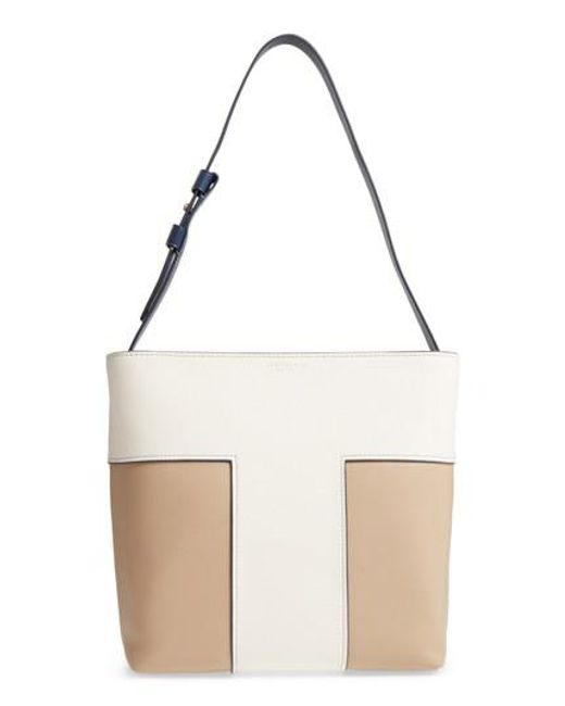 Tory Burch | White Block-t Bicolor Pebbled Leather Hobo | Lyst