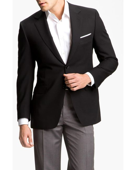 Canali Black Classic Fit Solid Wool Blazer for men