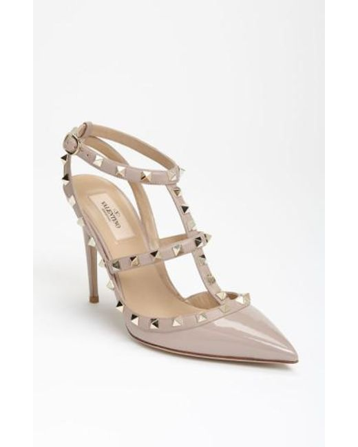 Valentino | Natural Rockstud Leather Pumps  | Lyst