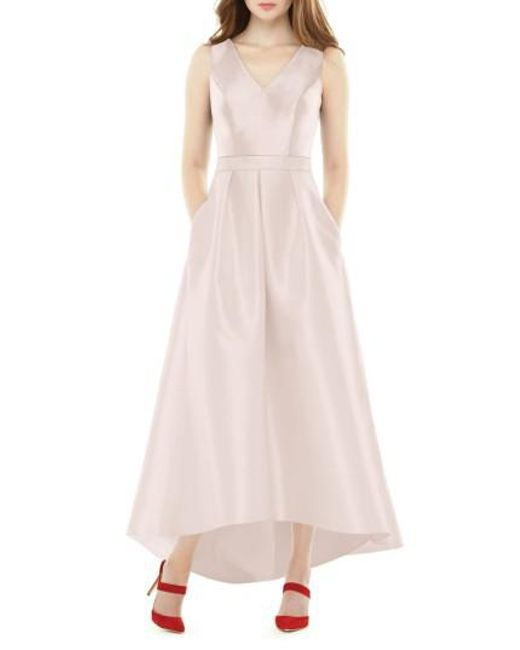 Lyst - Alfred Sung High/low Sateen Twill Gown in Pink