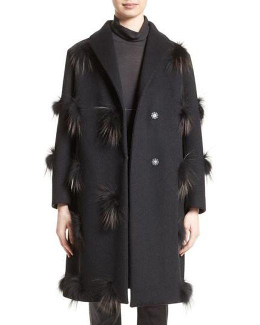 Fabiana Filippi | Black Genuine Fox Fur Trim Wool Blend Coat | Lyst