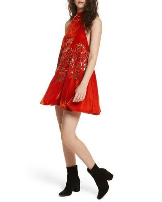 Free People | Red Jill's Sequin Swing Dress | Lyst