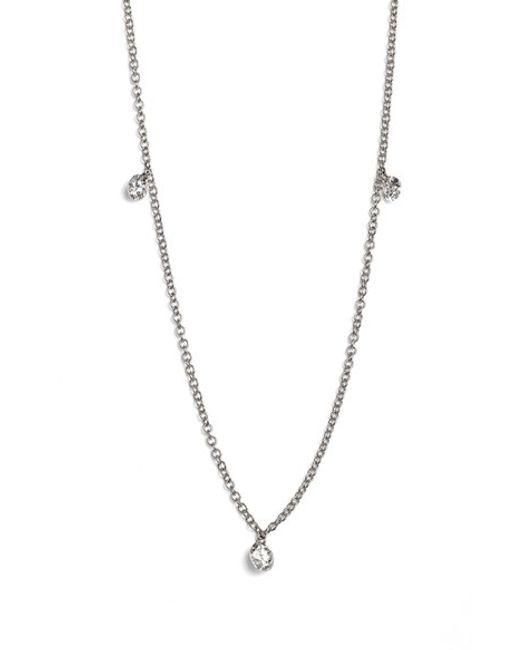 Bony Levy | White 'floating Diamond' 3-diamond Necklace (nordstrom Exclusive) | Lyst