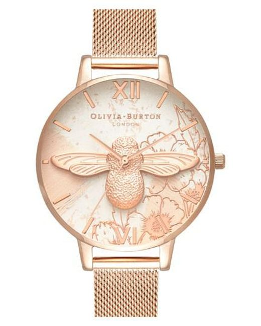 Olivia Burton - Metallic Abstract Floral Mesh Strap Watch - Lyst