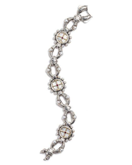 Konstantino Metallic Silver Mother-of-pearl & Ruby Bracelet