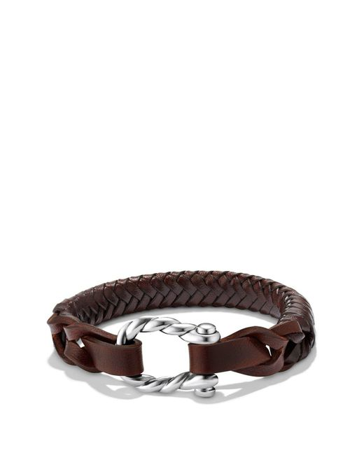 David Yurman Brown 'maritime' Leather Woven Shackle Bracelet for men