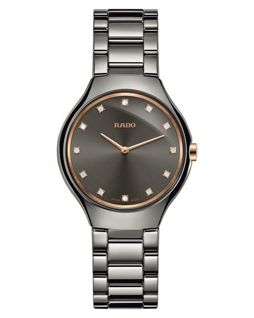 Rado - Metallic True Thinline Diamond Ceramic Bracelet Watch - Lyst
