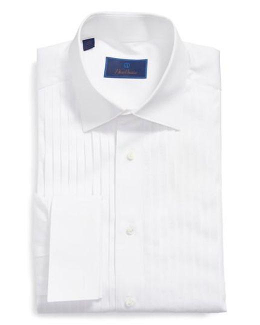 David Donahue - White Regular Fit French Cuff Tuxedo Shirt for Men - Lyst