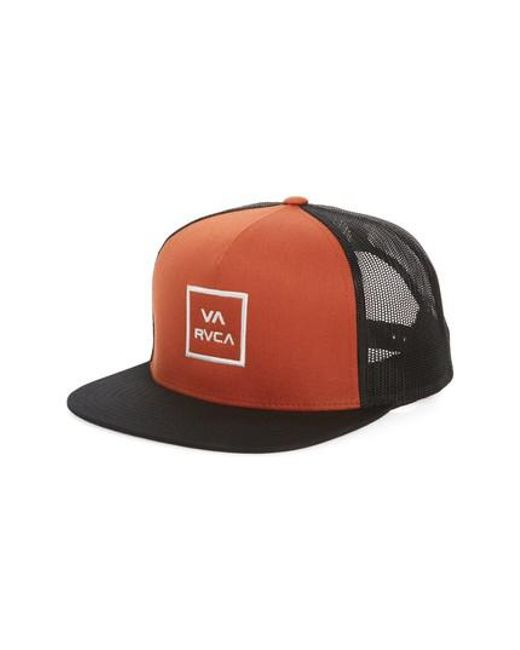 pretty nice 78dc7 0732f ... cheap rvca orange va all the way trucker hat for men lyst 68299 65755