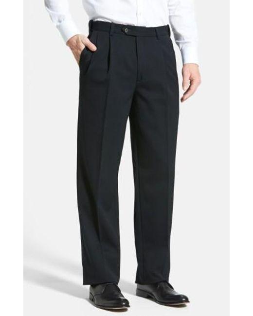 Berle   Black Self Sizer Waist Pleated Wool Gabardine Trousers for Men   Lyst