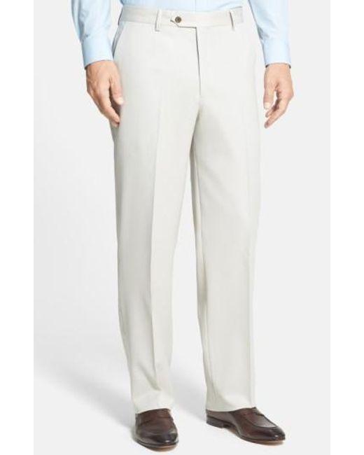 Berle | Blue Flat Front Wool Gabardine Trousers for Men | Lyst