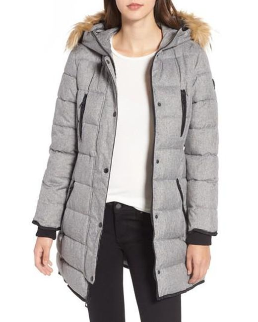 Guess | Gray Hooded Jacket With Faux Fur Trim | Lyst