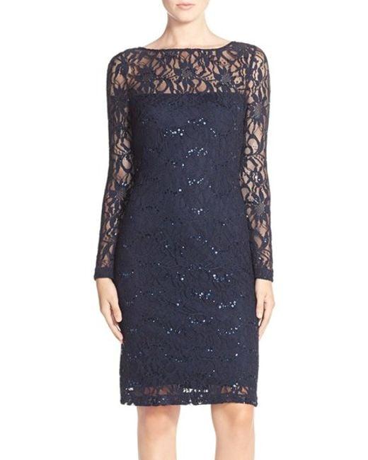 JS Collections   Blue Illusion Lace Dress   Lyst