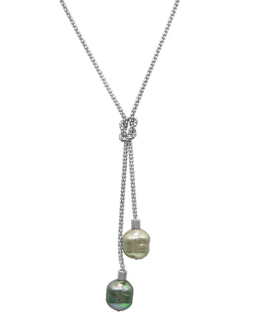 Majorica - Metallic Necklace, Organic Man-made Baroque Pearl Love Knot Lariat - Lyst