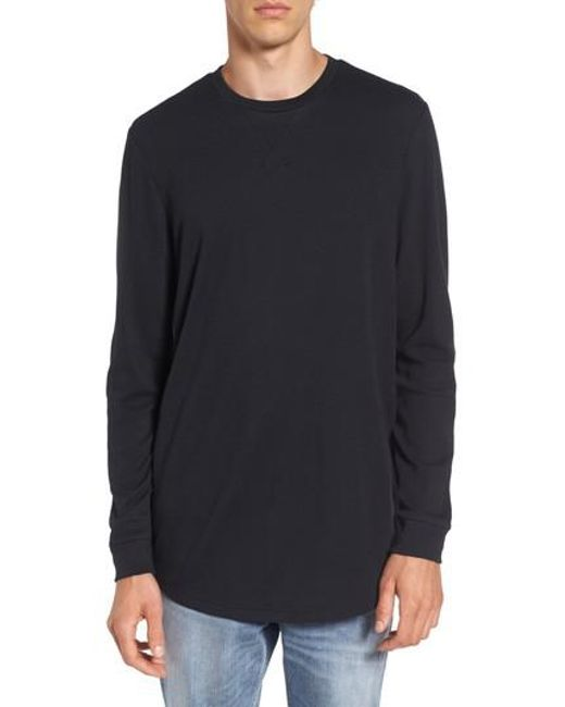 The rail longline thermal t shirt in black for men lyst for Mens black thermal t shirts