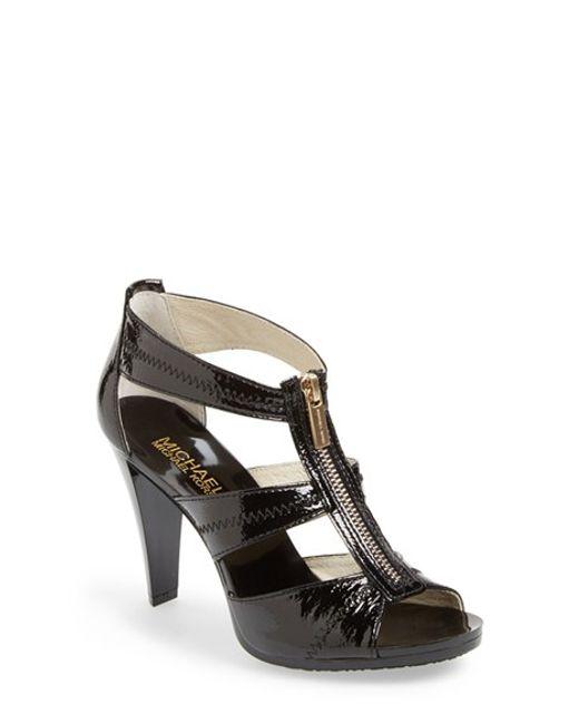 MICHAEL Michael Kors | Black 'berkley' T-strap Sandal | Lyst