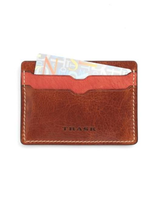 Trask | Red 'jackson' Bison Leather Card Case for Men | Lyst