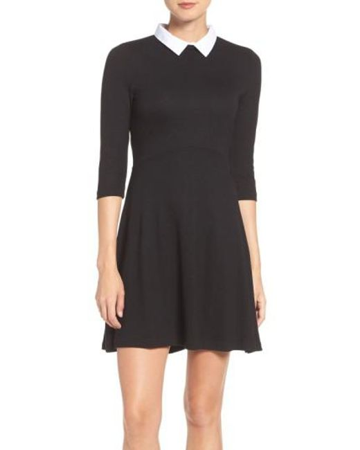 French Connection | Black 'fast Fresh' Collared Jersey Fit & Flare Dress | Lyst