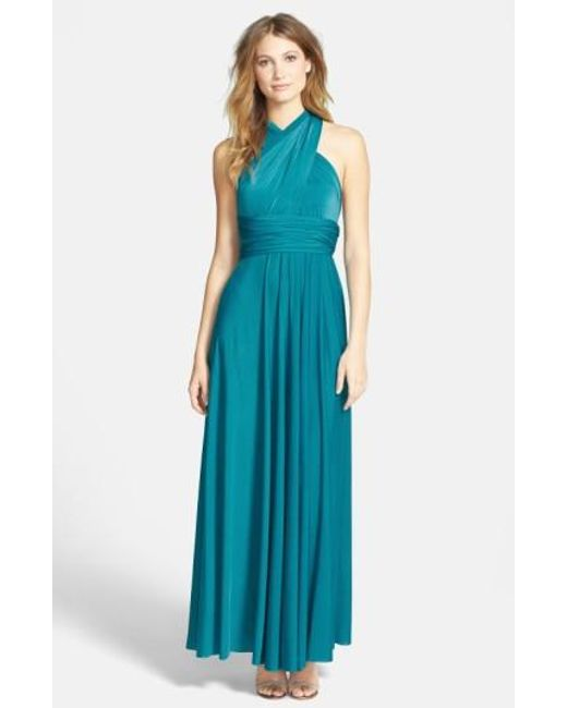 Dessy Collection | Green Convertible Wrap Tie Surplice Jersey Gown | Lyst