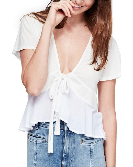 69fd097c389a Lyst - Free People Knot Me Tee in White