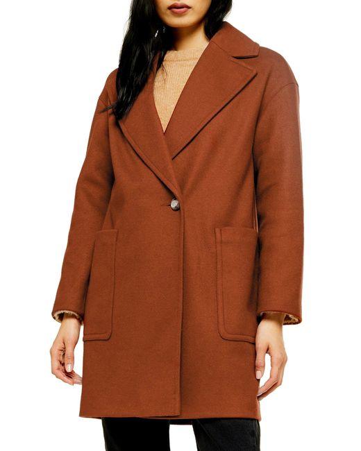 TOPSHOP Brown Carly Coat