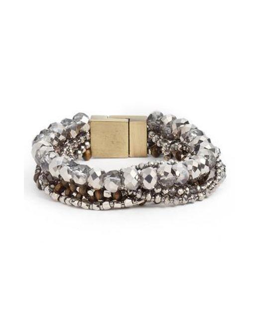 Serefina   Metallic Layered Statement Bracelet   Lyst