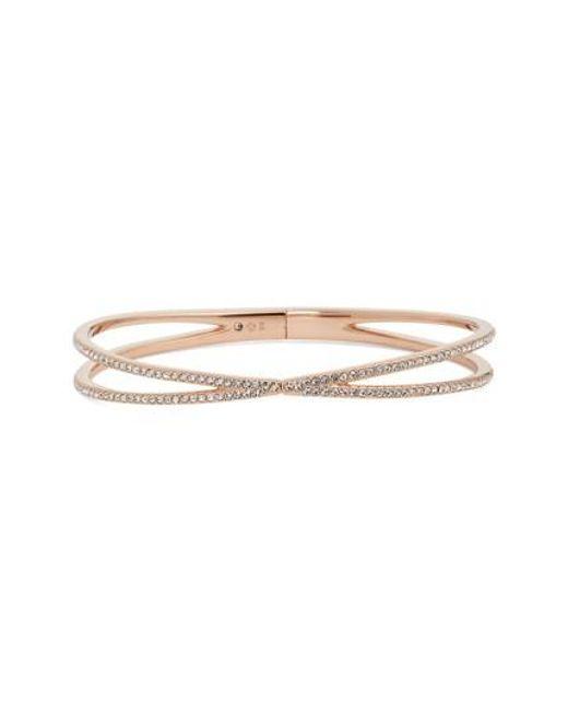 Nadri   Metallic Pave Hinged Crossover Bracelet (nordstrom Exclusive)   Lyst