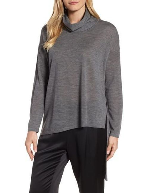 Eileen Fisher | Gray Asymmetrical Merino Wool Sweater | Lyst