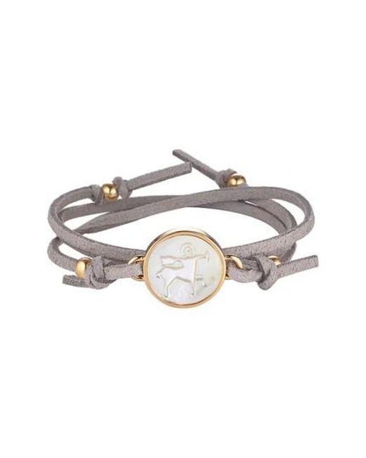 Asha | Gray Zodiac Suede Wrap Bracelet | Lyst
