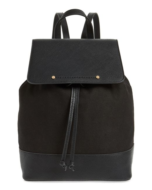 Sole Society - Black Canvas & Faux Leather Backpack - Lyst