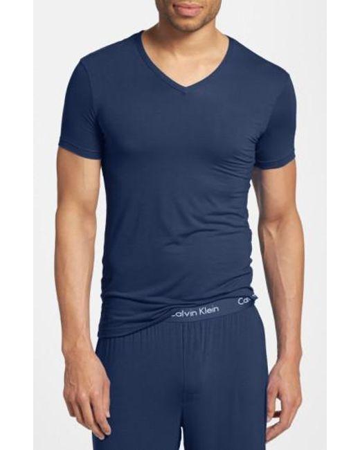 Calvin Klein | Blue 'u5563' V-neck Micromodal T-shirt for Men | Lyst