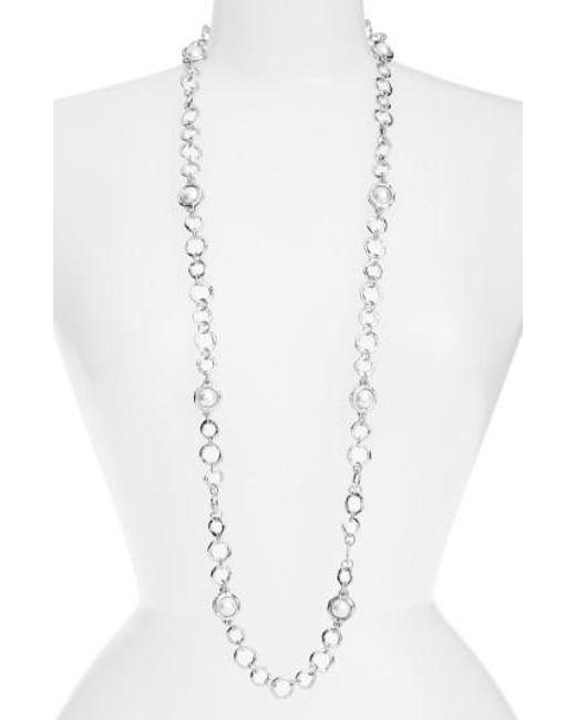 Karine Sultan | Metallic Long Imitation Pearl Necklace | Lyst