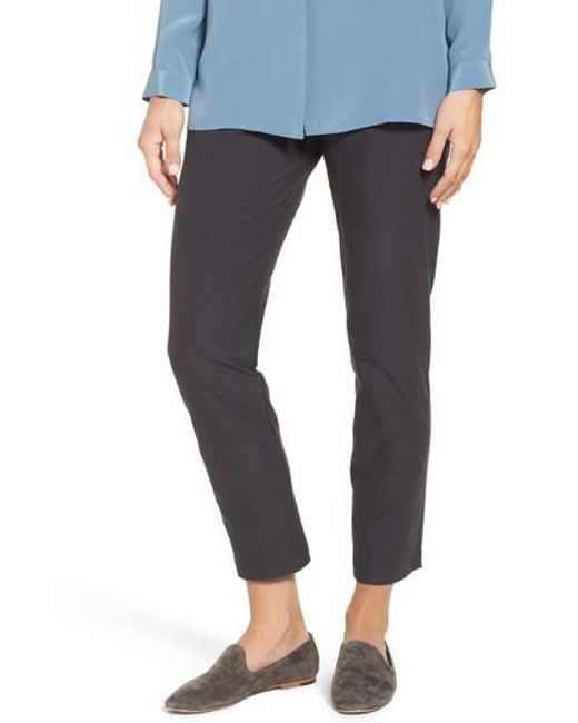Eileen Fisher | Gray Stretch Crepe Ankle Pants | Lyst