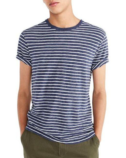 J.Crew - Blue J.crew Stripe Slub Cotton T-shirt for Men - Lyst