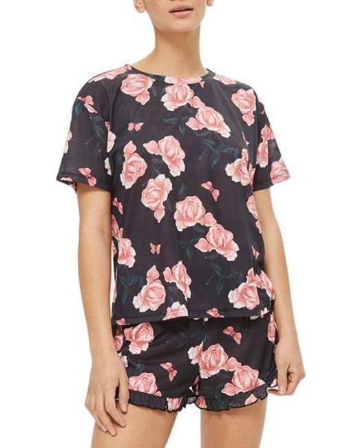 TOPSHOP - Black Rose Pajama Top - Lyst