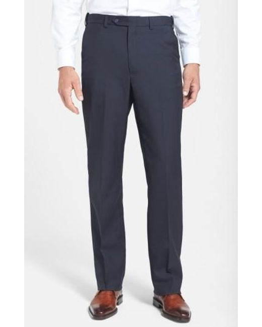 Berle   Blue Self Sizer Waist Tropical Weight Flat Front Trousers for Men   Lyst