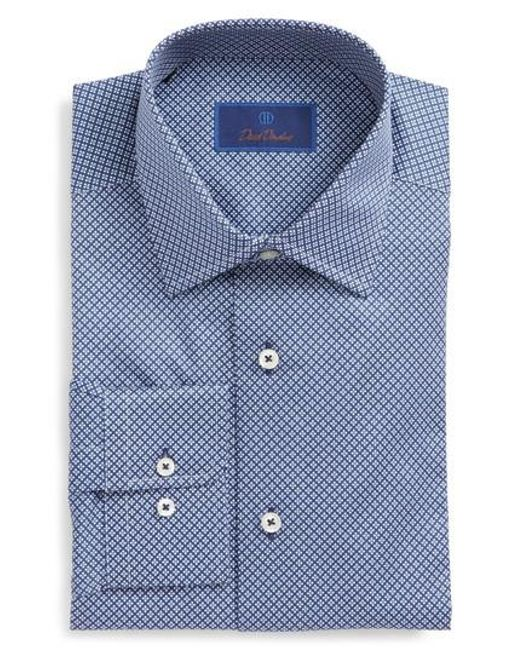 David Donahue | Blue Regular Fit Geometric Dress Shirt for Men | Lyst