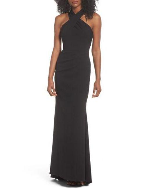 Lyst - Eliza J Side Pleat Crossneck Gown in Black