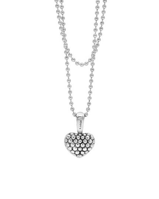 Lagos | Metallic Sterling Silver Heart Long Strand Pendant Necklace | Lyst